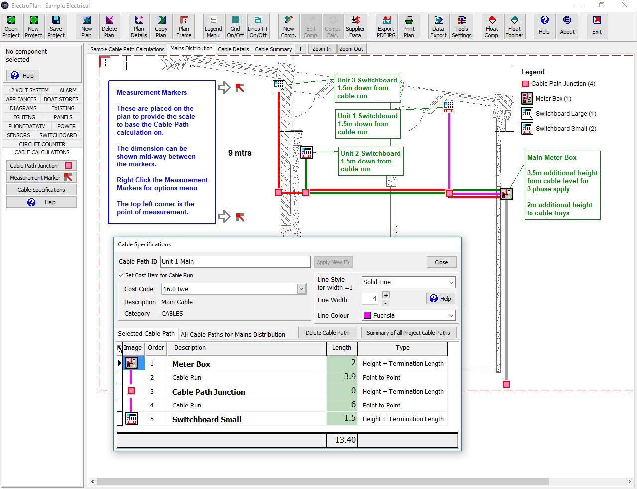 Electroplan Software Electrical Pricing Planning Documents Wiring Symbols Nz Cable Path Calculations
